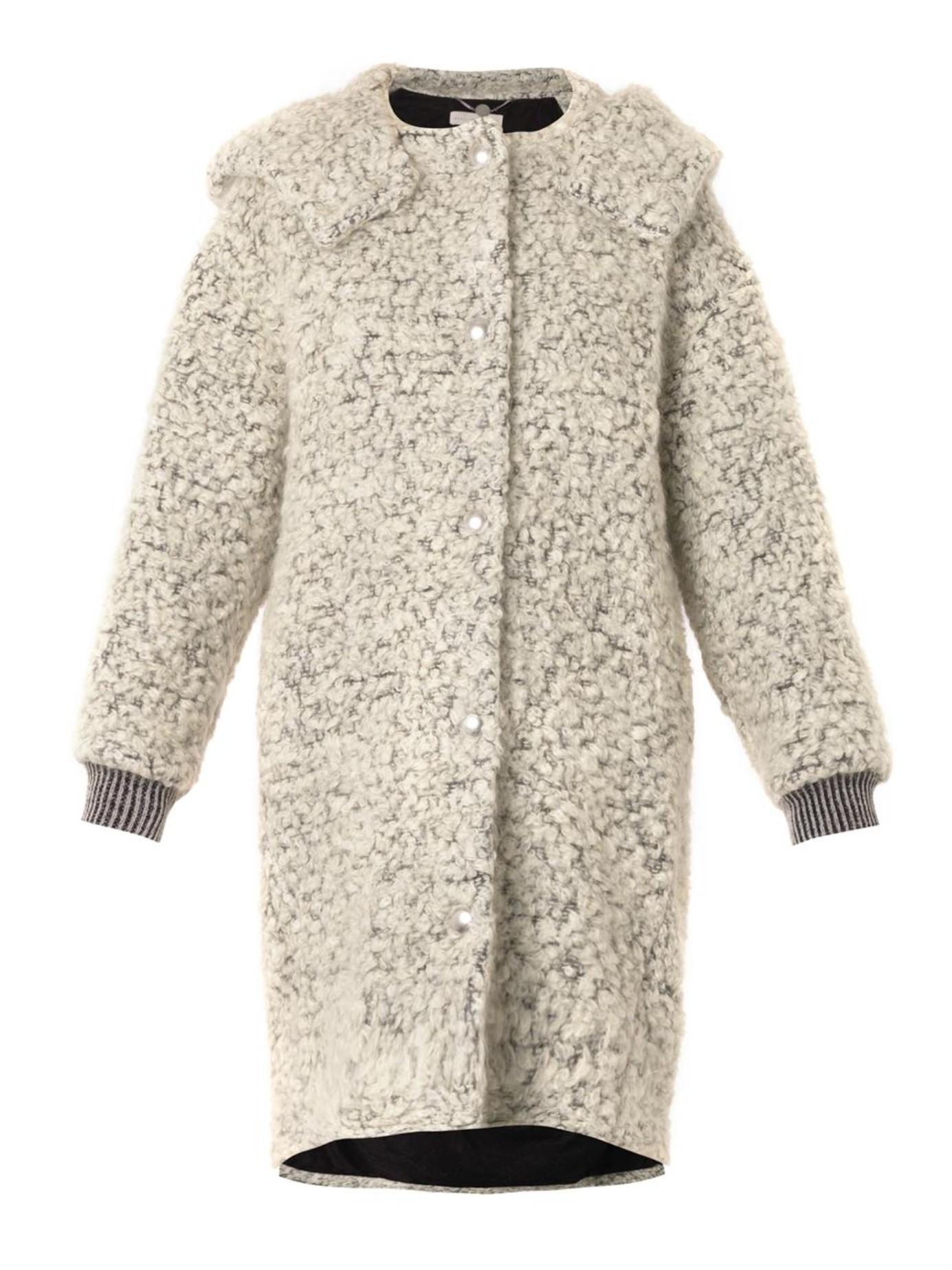 Stella mccartney Clara Mohair And Wool-blend Bouclé Coat in White