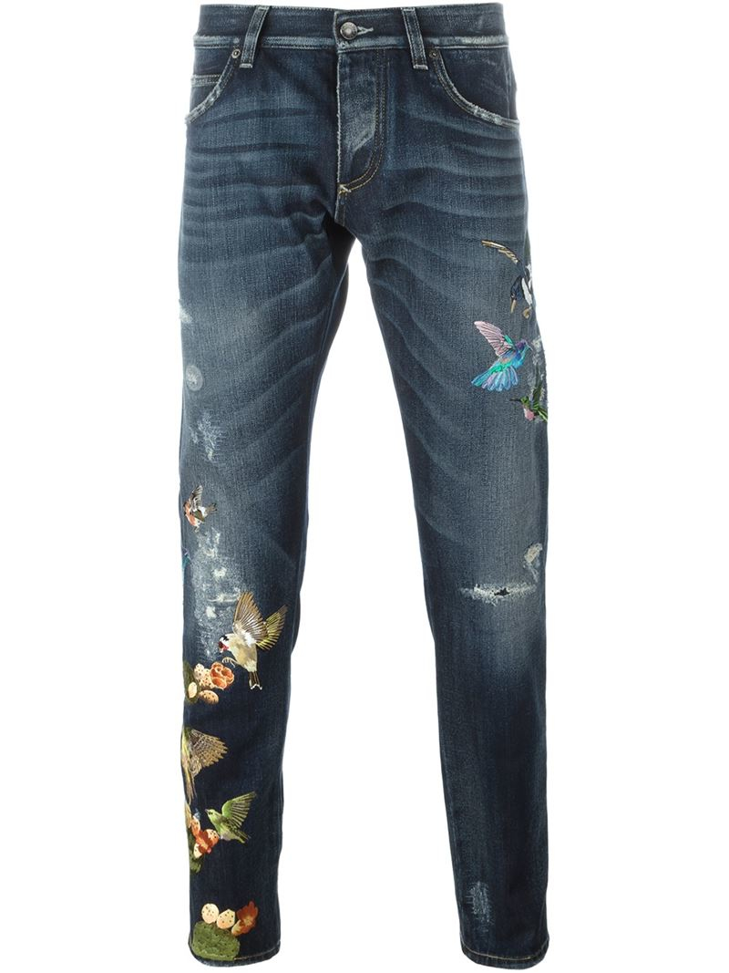 Dolce amp Gabbana Embroidered Bird Jeans In Blue For Men Lyst