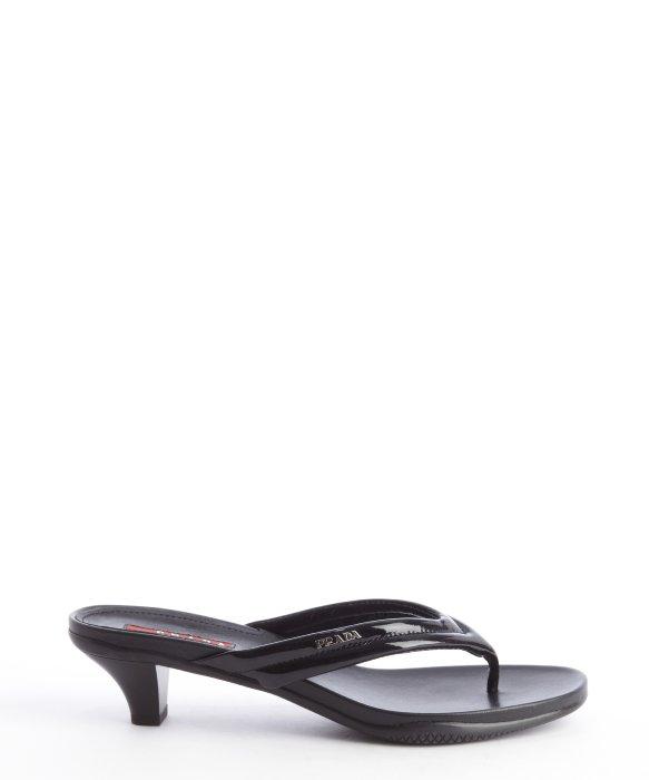 Prada Black Leather Kitten Heel Thong Strap Sandals In