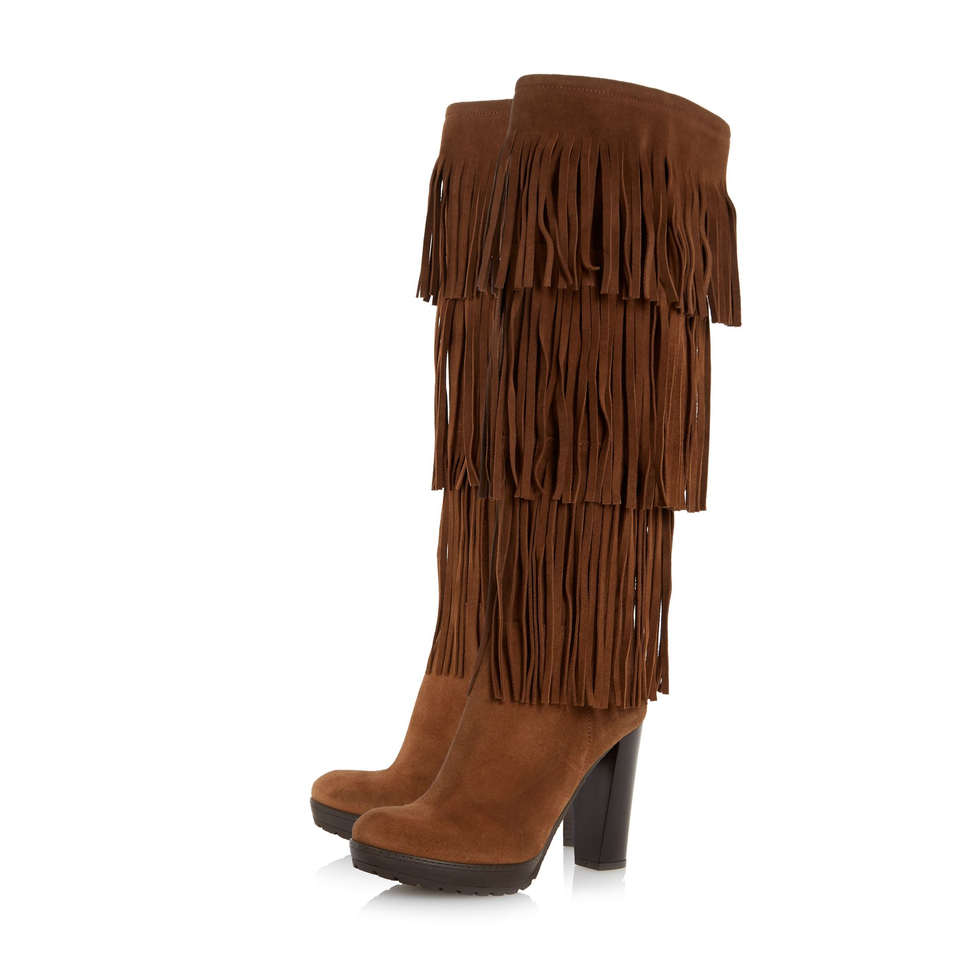 dune stetson fringe high leg boots in brown lyst