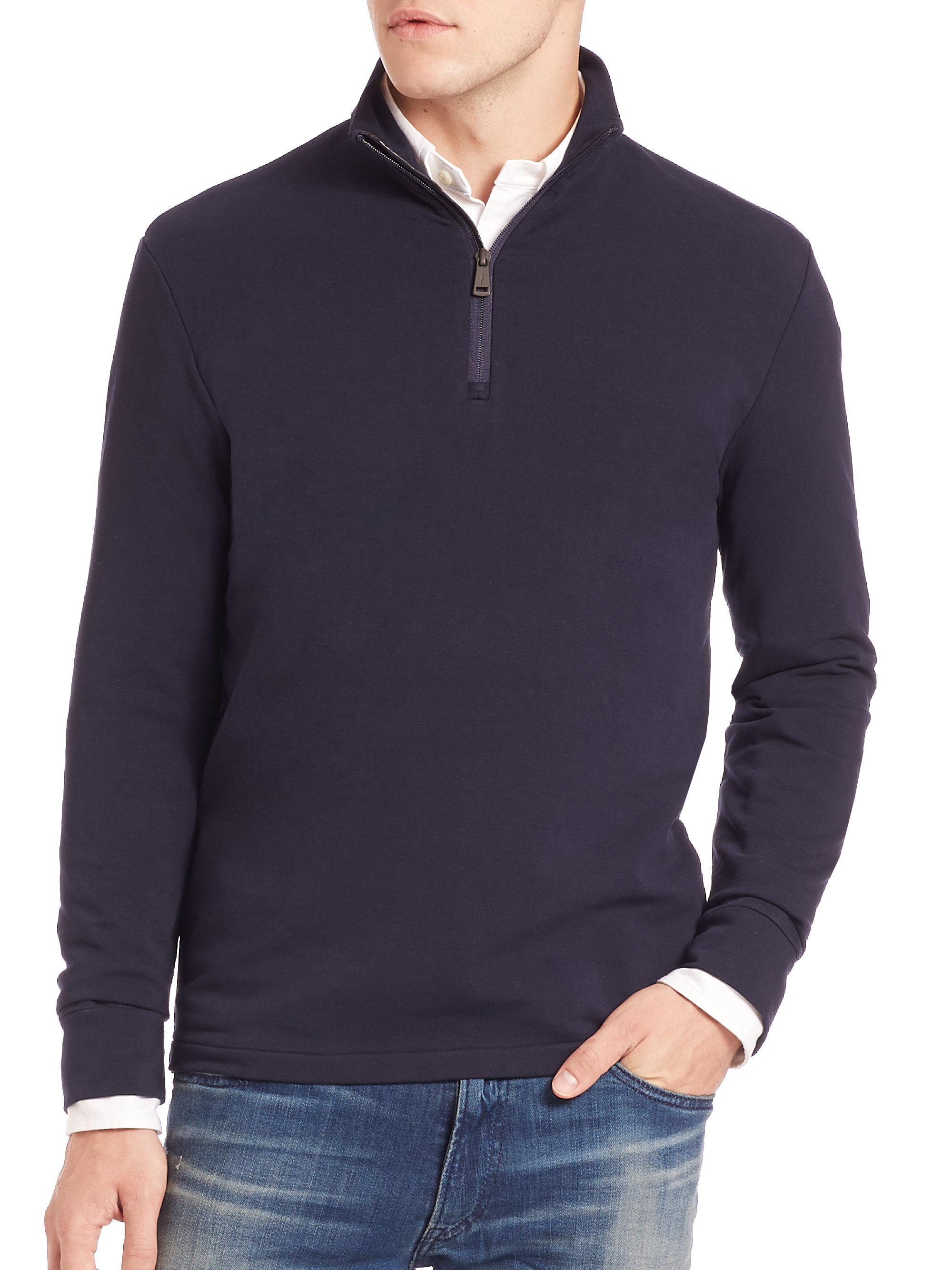 polo ralph lauren half zip pima cotton pullover in blue for men lyst. Black Bedroom Furniture Sets. Home Design Ideas