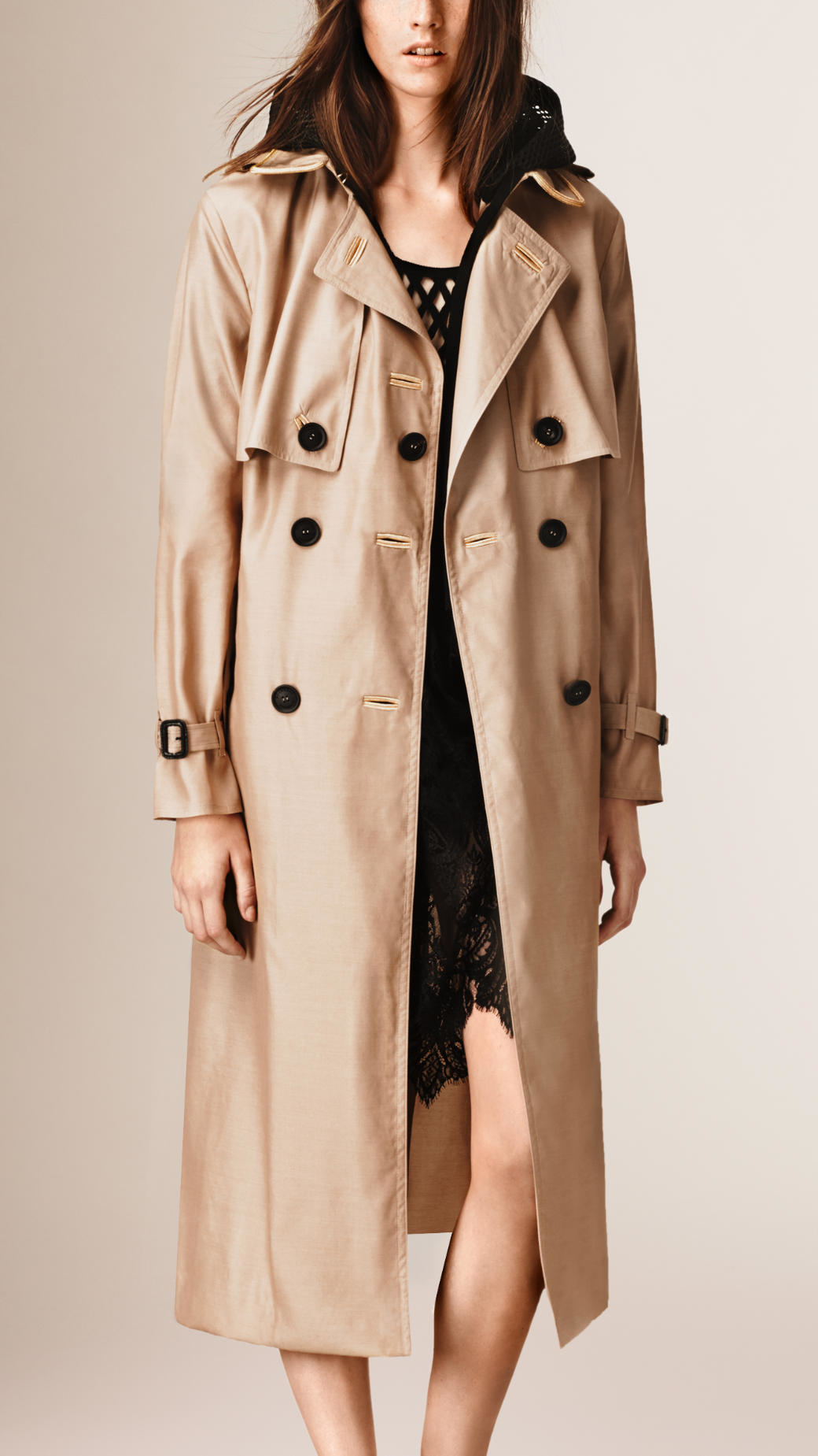lyst burberry silk wool trench coat in natural. Black Bedroom Furniture Sets. Home Design Ideas