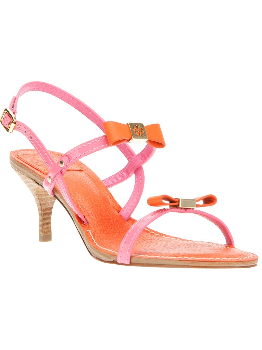 Lyst Tory Burch Bow Kitten Heel Sandal In Pink