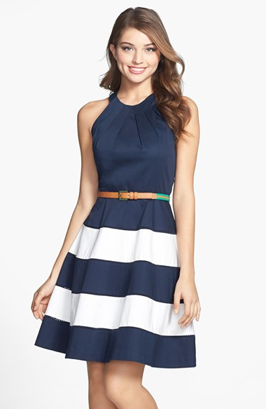Eliza J Stripe Skirt Cotton Sateen Fit Amp Flare Dress In