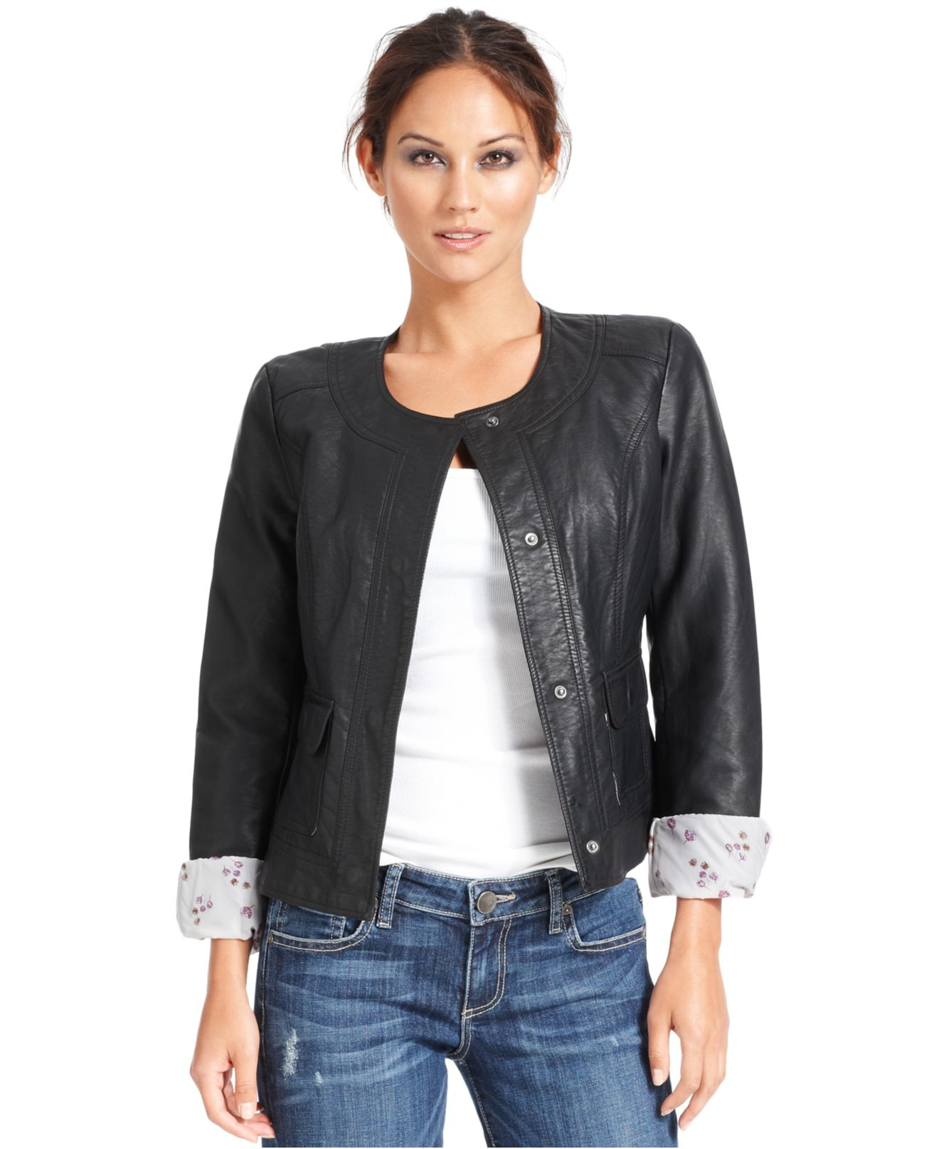 Lyst Kut From The Kloth Long Sleeve Faux Leather Jacket
