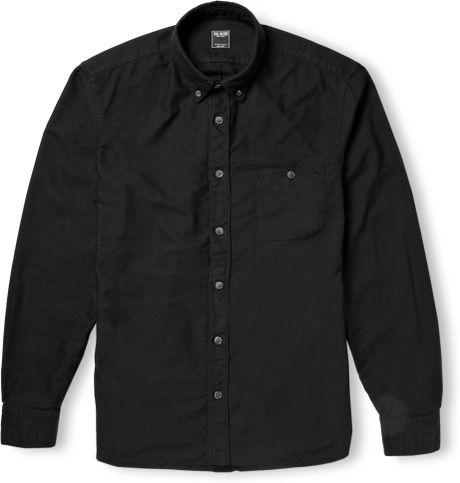 Todd snyder buttondown collar cotton oxford shirt in black for Black oxford button down shirt