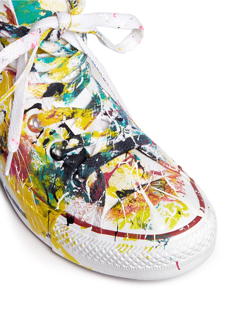 Rialto Jean Project Canvas One Of A Kind Hand-painted Splash High Top Sneakers - Sz 36