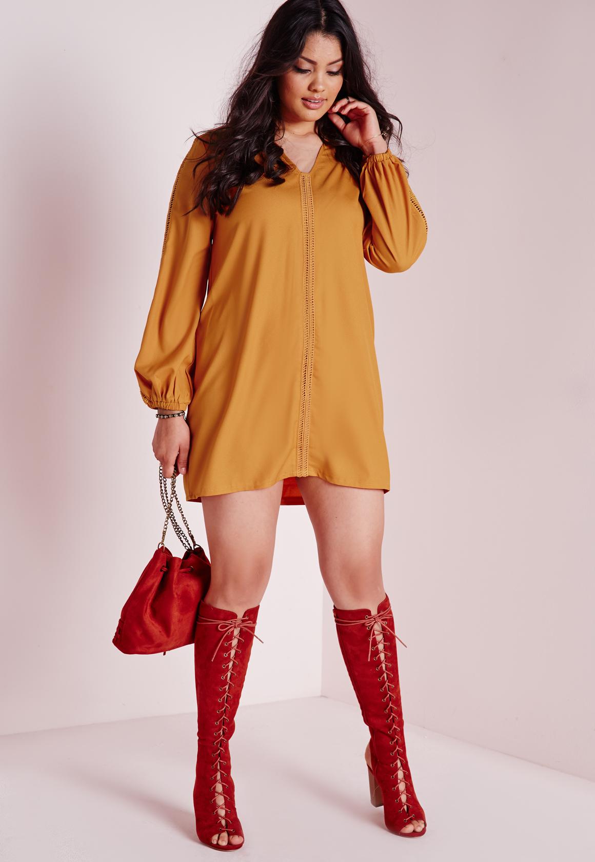 Lyst Missguided Plus Size Swing Dress Mustard In Orange
