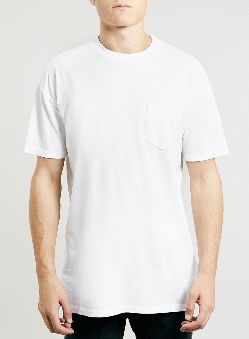 Topman mock neck long sleeve t shirt in white for men lyst for Mock long sleeve t shirts