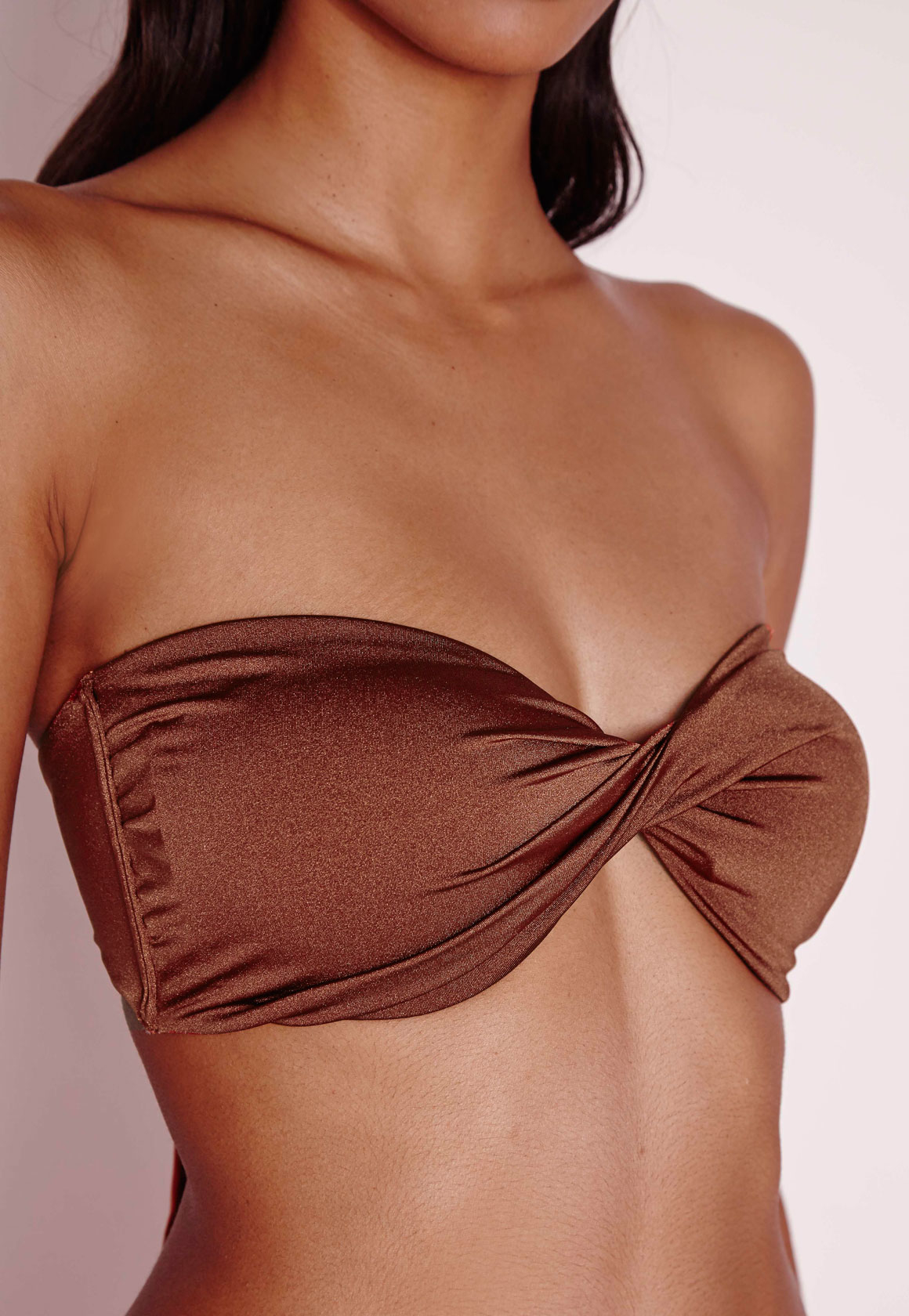 Hunza G Gloria Embellished Seersucker Bandeau Bikini ($) I'm Certifiably Obsessed With Gigi Hadid's Brown Bikini — It's All I'm Missing This Summer. She Made Me Sita Bikini Top in Sand.