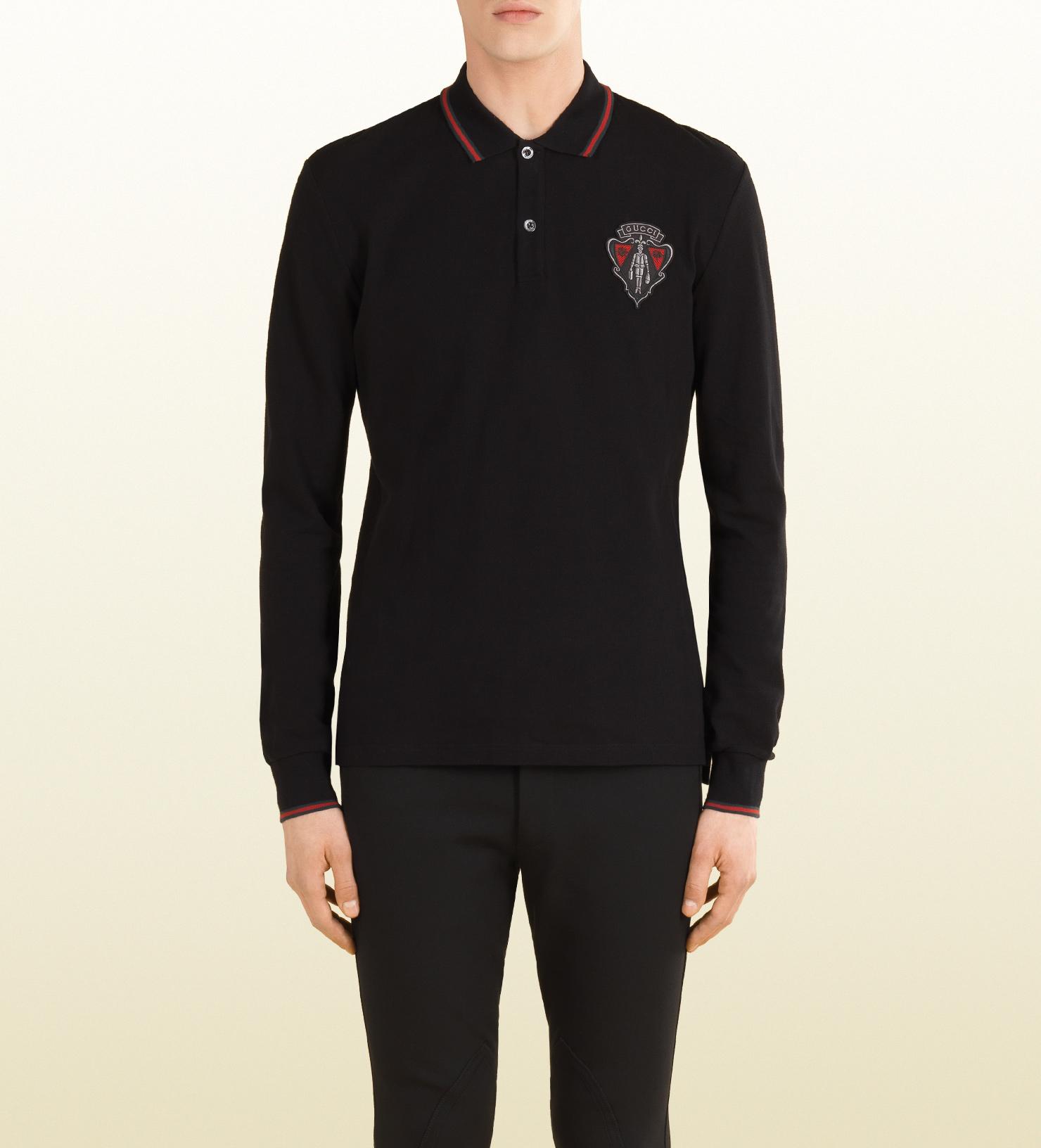 fbe98a0e Gucci Black Long Sleeve Polo Shirt for men
