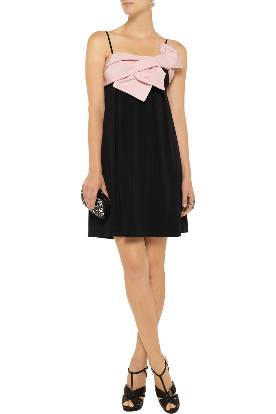 red valentino bow detailed stretch jersey dress in pink lyst