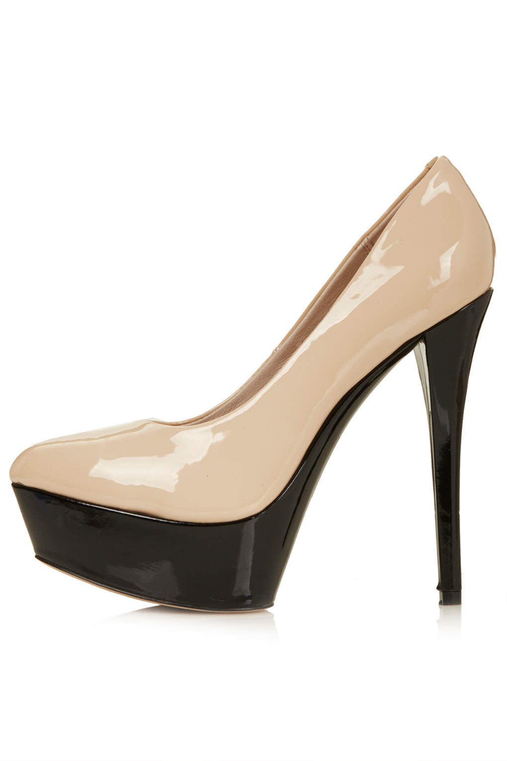 Topshop Solar Patent Platform Shoes In Natural Lyst