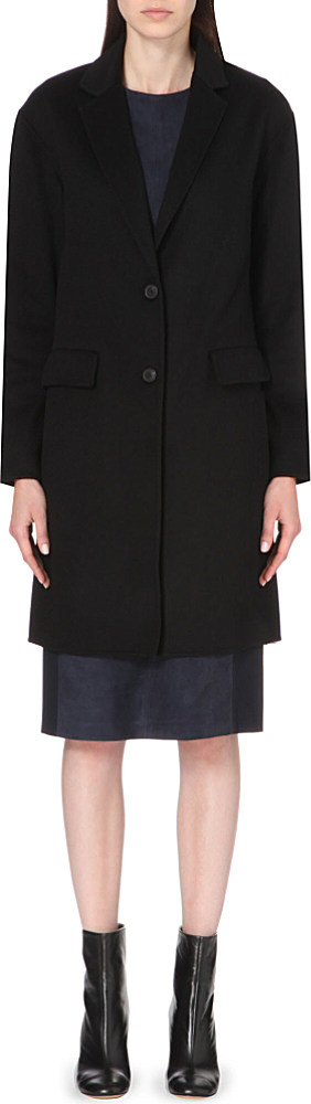 Theory Single-breasted Cashmere Coat in Black | Lyst