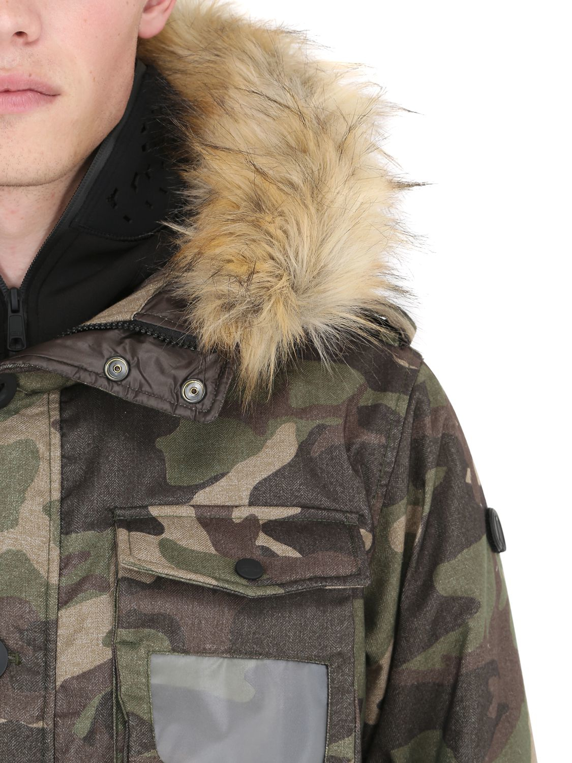 Ai Riders On The Storm Hooded Camo Print Down Parka W/ Faux Fur in Camouflage (Yellow) for Men