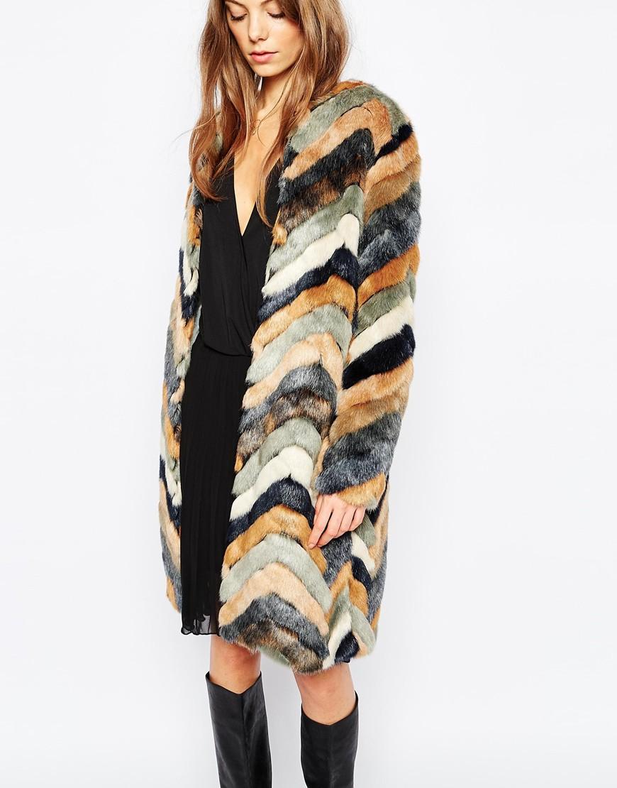 f8948c28bdb Lyst - Urbancode Faux Fur Chevron Stripe Coat