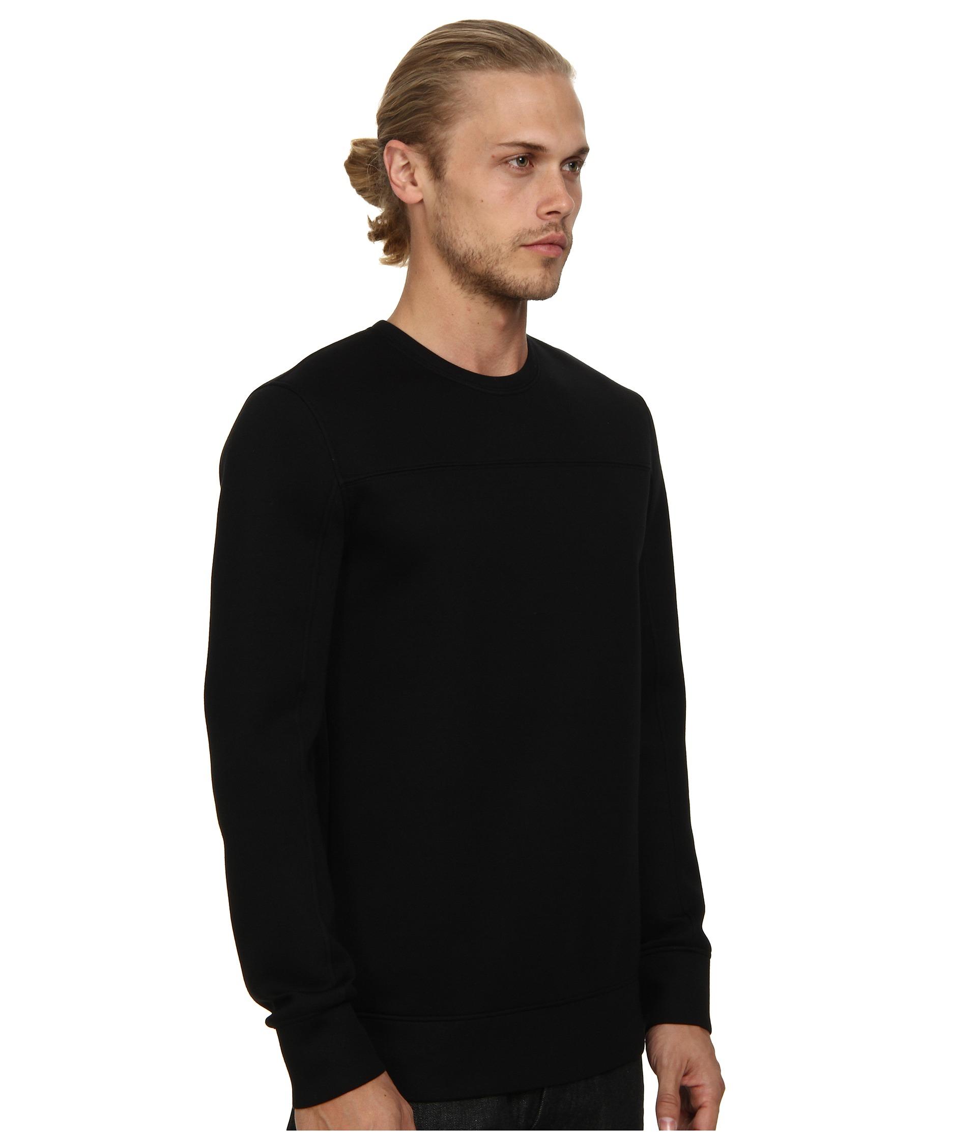 Lyst helmut lang sponge fleece combo sweatshirt in black for Sweatshirt kleid lang