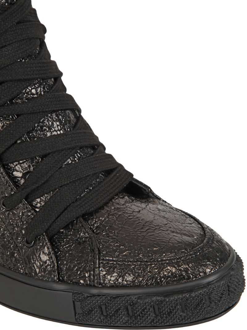 a8bb8180d1b Lyst - Casadei 90mm Metallic Leather Wedge Sneakers in Black