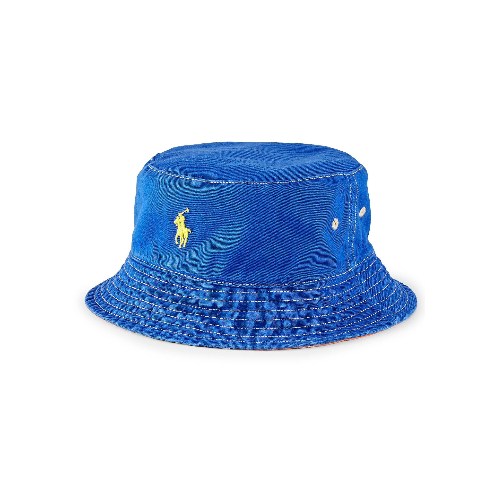 Lyst - Polo Ralph Lauren Reversible Twill Bucket Hat in Blue 099a10c00712