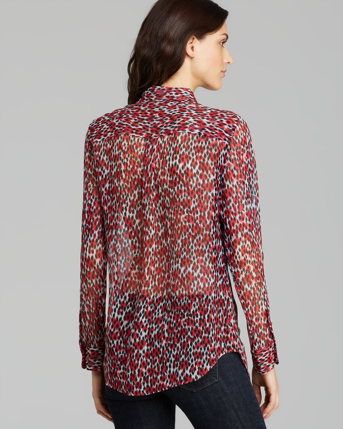 Lyst Equipment Blouse Slim Signature Lavish Leopard