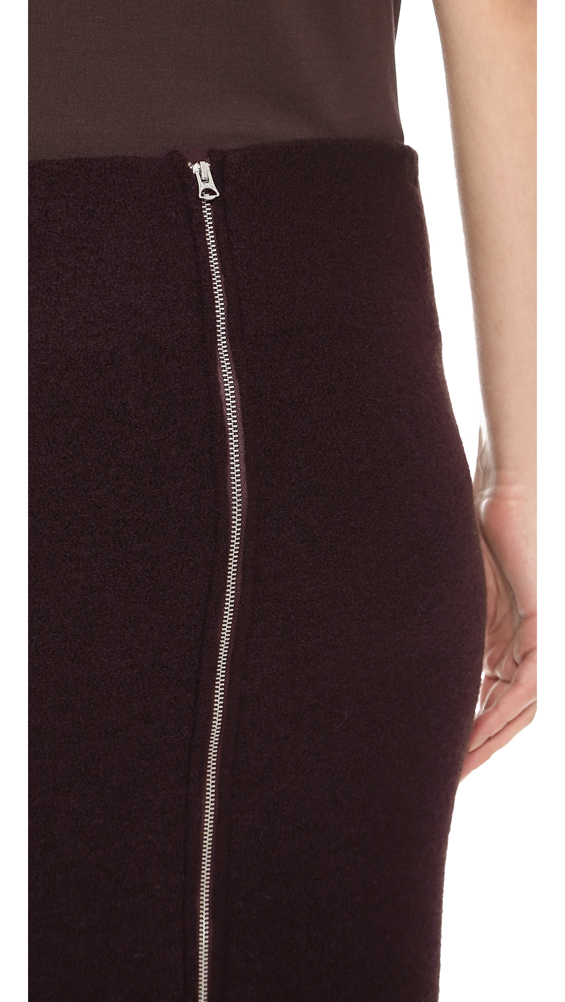 Acne Donna Boiled Wool Pencil Skirt Dark Brown in Brown   Lyst