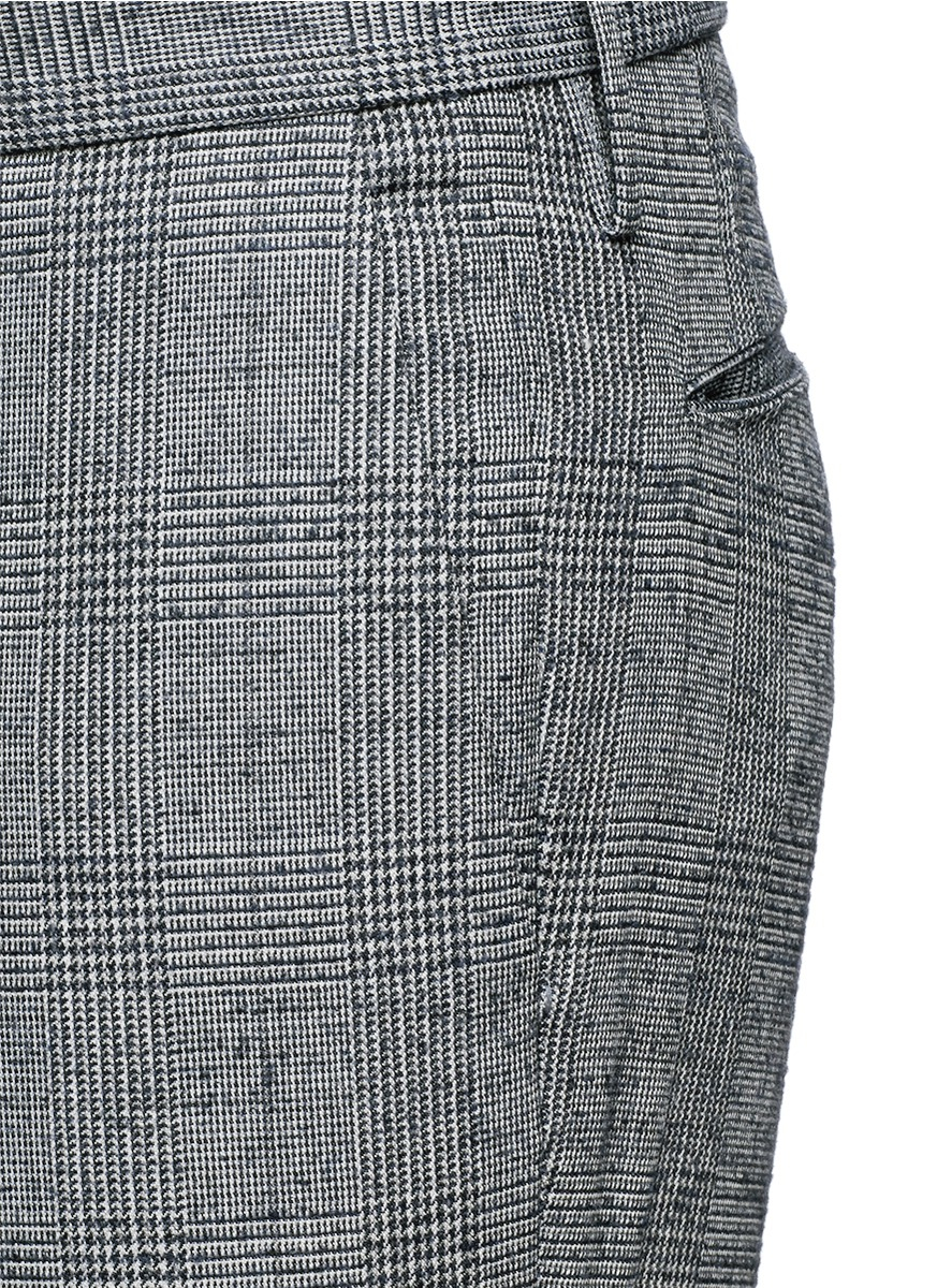 Lyst Incotex Glen Plaid Donegal Tweed Chinos In Gray For Men