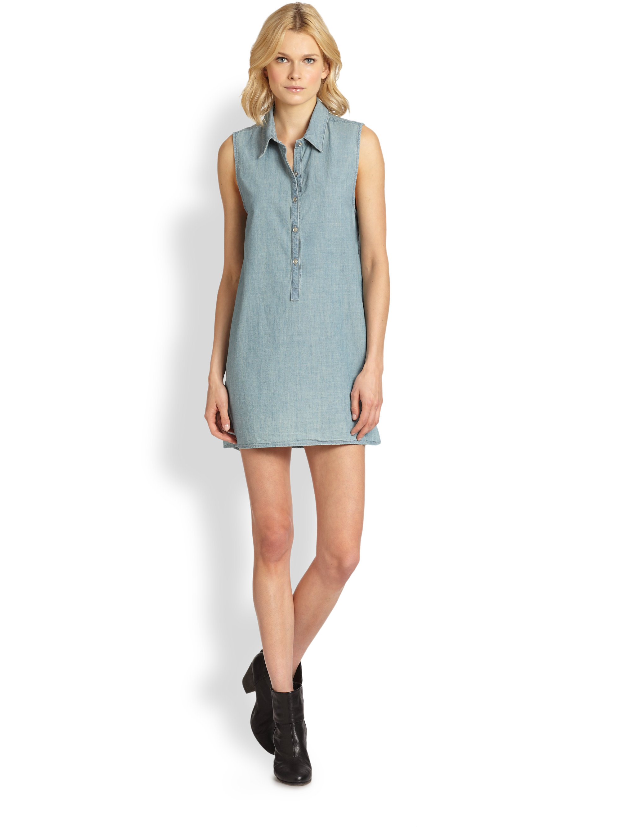 8103840fd1c Rag & Bone Sleeveless Denim Shirtdress in Blue - Lyst