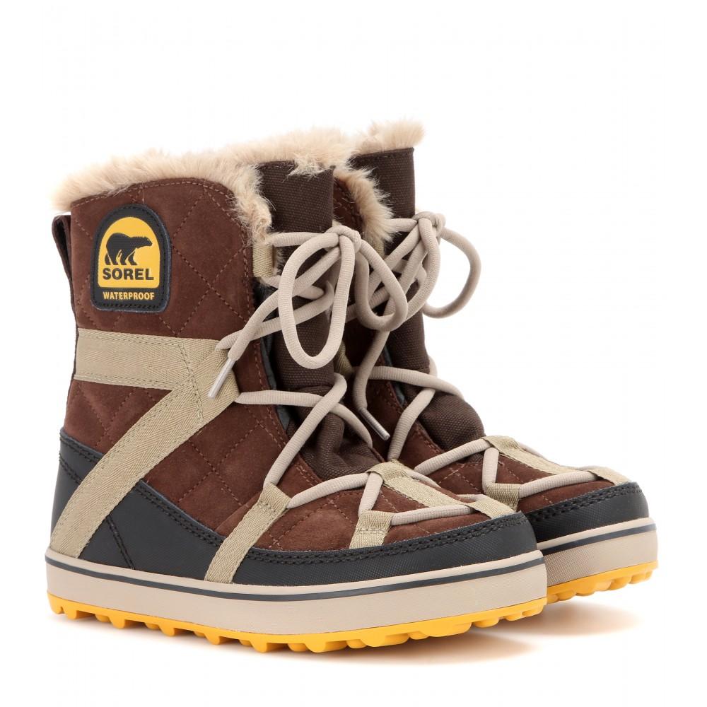 Sorel Glacy Explorer Shortie Suede Boots in Brown