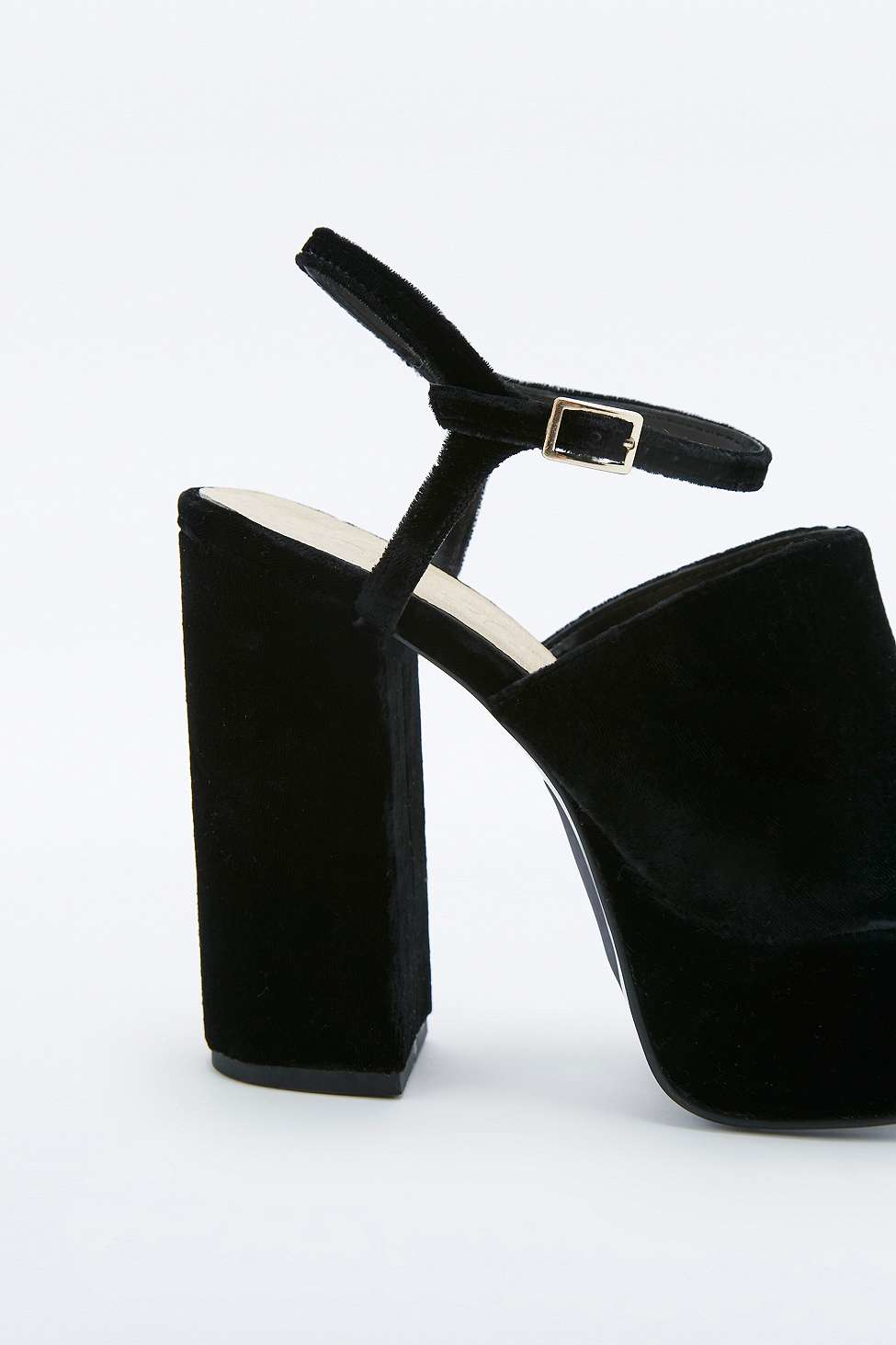 c21b524977d Urban Outfitters Phoebe Black Velvet Platform Shoes in Black - Lyst