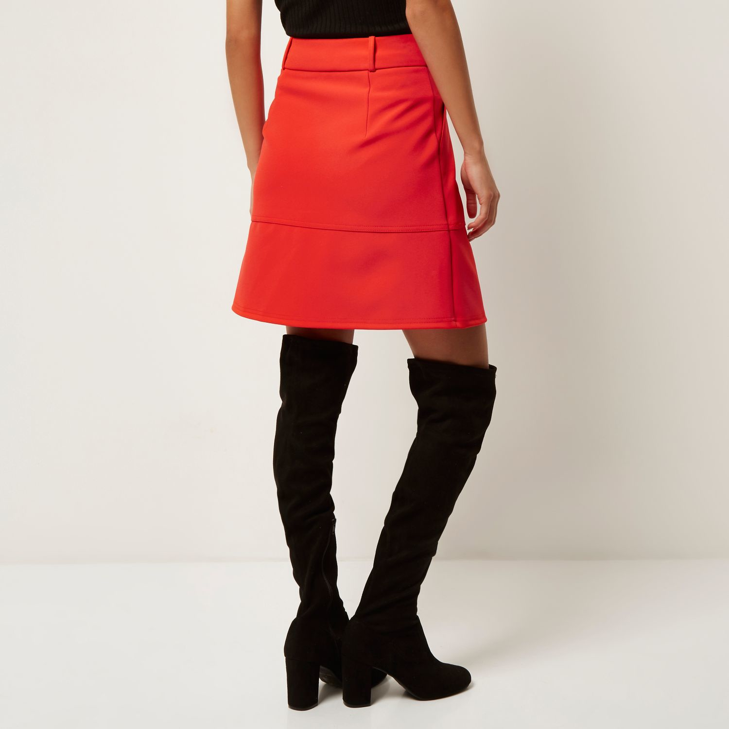 Red A Line Skirt - Skirts