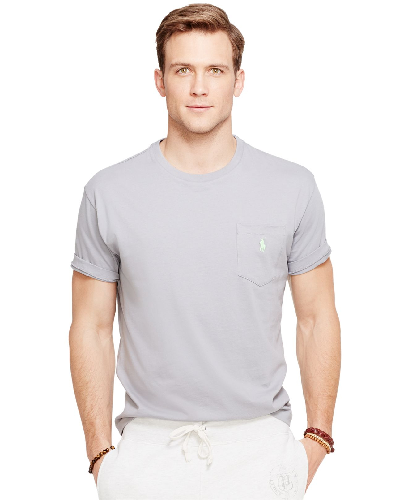 Grey crewneck t-shirt with patch pocket Ralph Lauren Footaction For Sale czYbBWcX