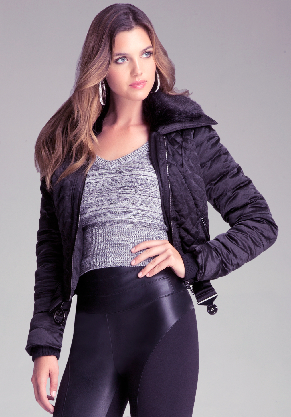 Bebe Quilted Bomber Jacket in Black - Lyst