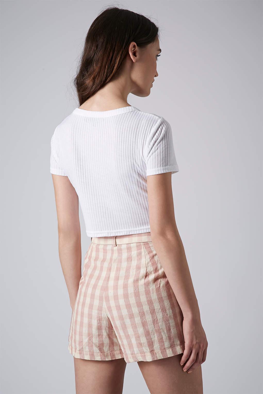 Topshop petite rib crop tee in white lyst for Petite white tee shirt