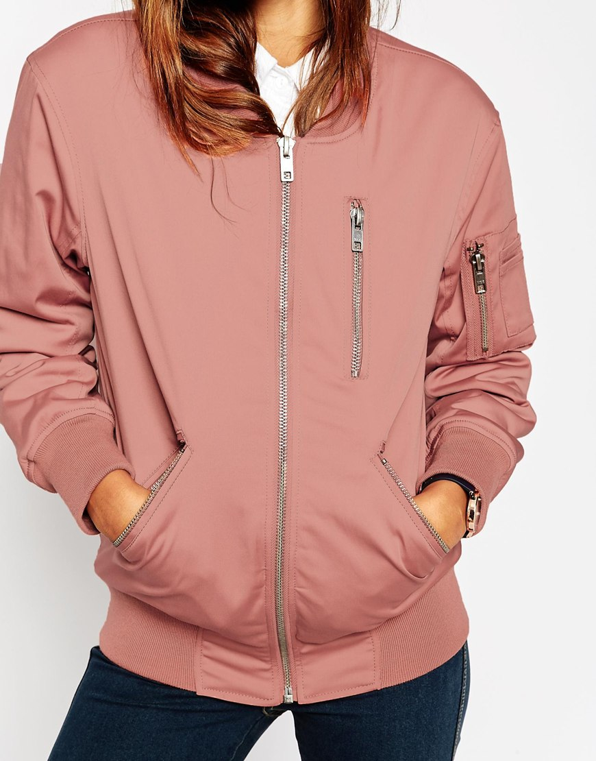 Asos Bomber Jacket With Zip Detail in Pink | Lyst