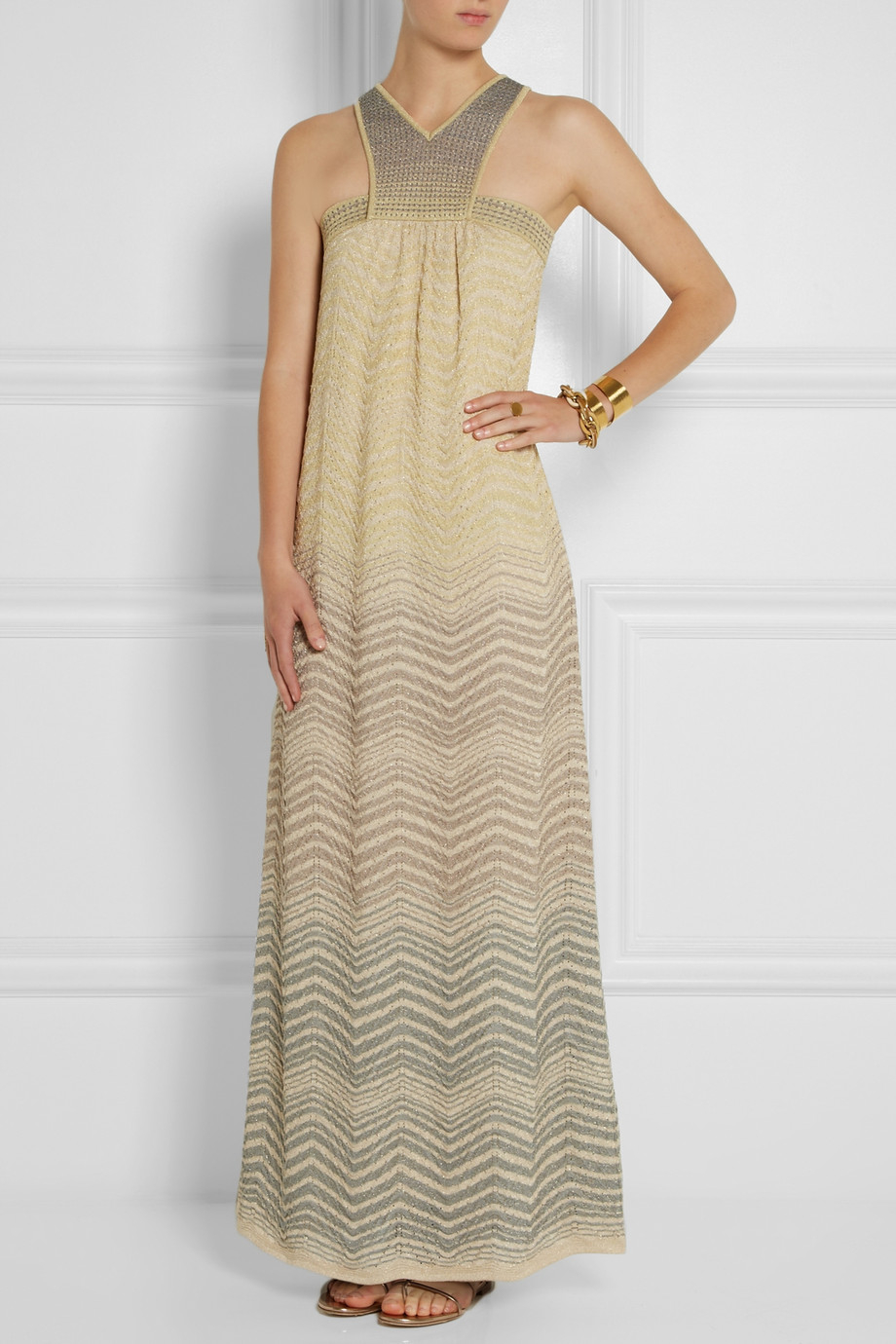 Knit Maxi Dress Pattern : M missoni Crochet-Knit Maxi Dress in Yellow Lyst