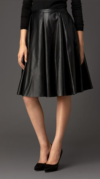 burberry gather detail leather circle skirt in black lyst