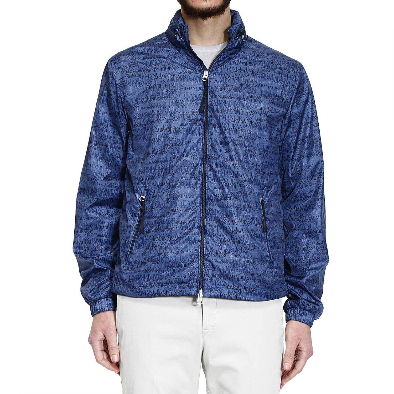 buy online 8cc7a 9e5be Giorgio Armani Blue Down Jacket Giubbotto Bomber Nylon Logo All Over for men