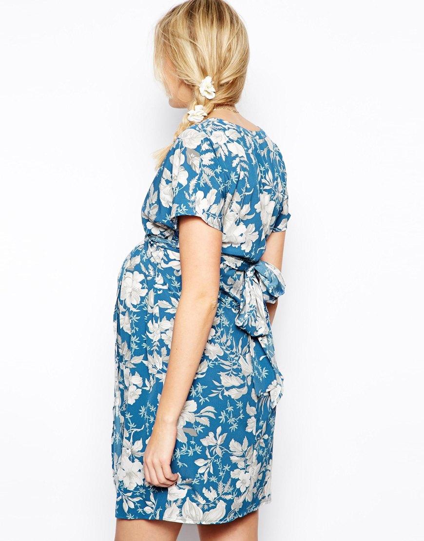Lyst Asos Exclusive Kimono Dress In Blue Vintage Print