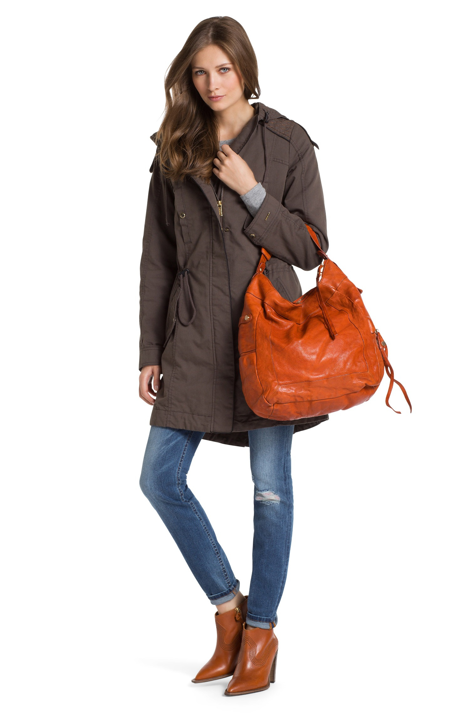 lyst boss orange hobo bag 39 raquel 39 in leather in brown. Black Bedroom Furniture Sets. Home Design Ideas