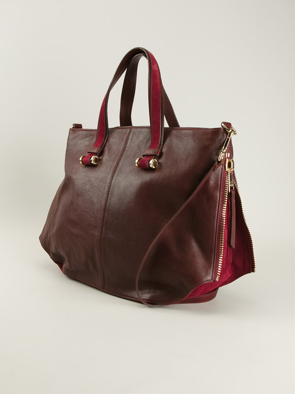 Claudio Orciani Zipped Sides Tote Bag in Red