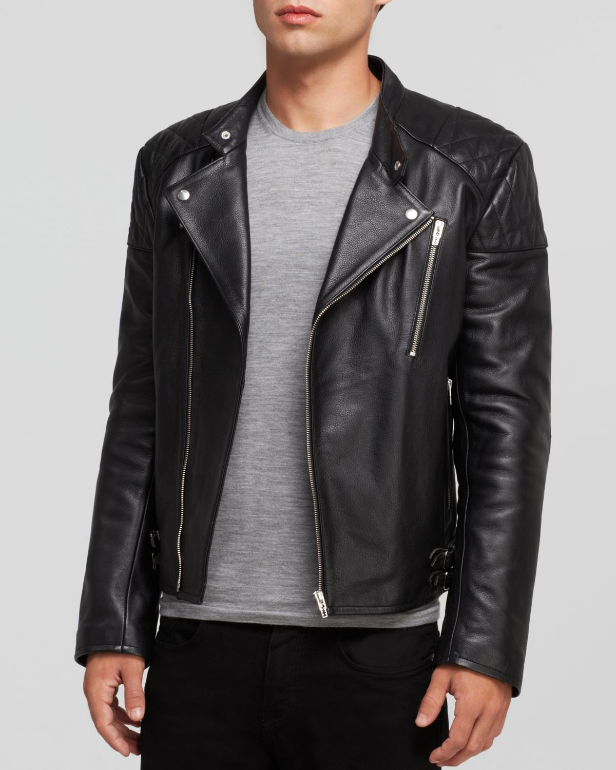 Mcq Leather Biker Jacket in Black for Men | Lyst