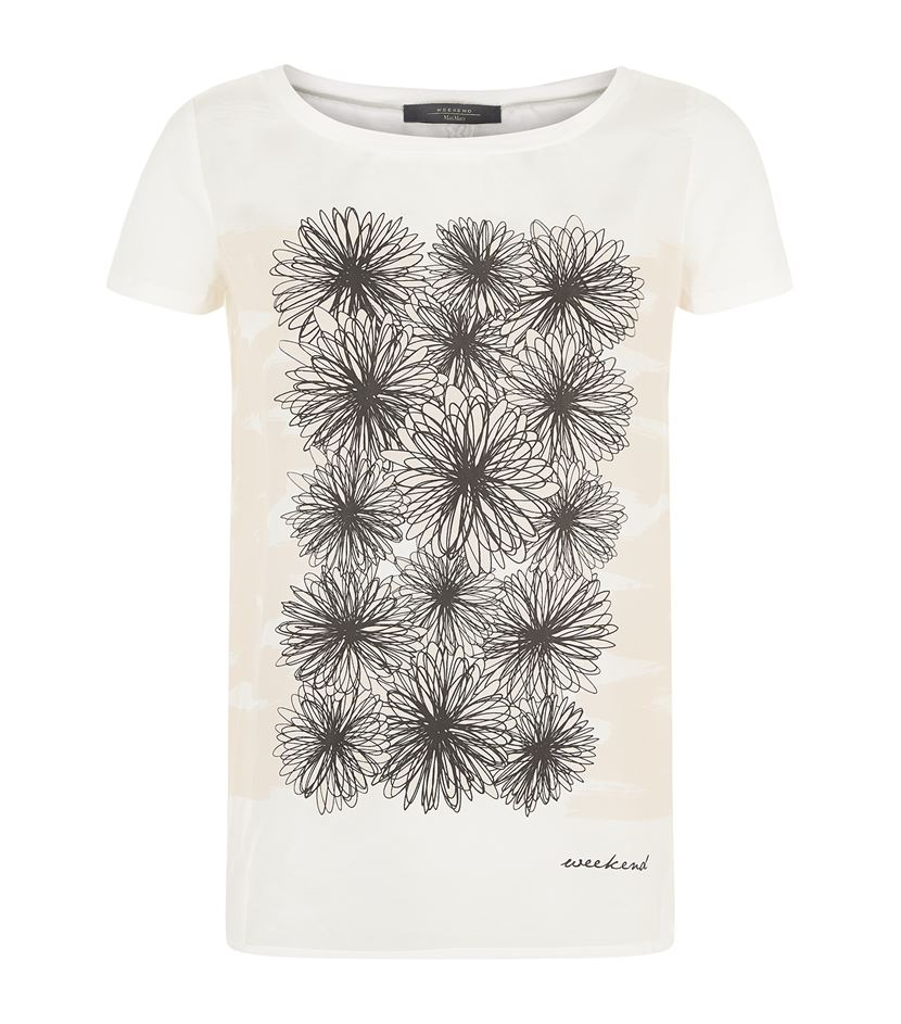 Weekend by maxmara erivan floral silk panel t shirt in for Silk white t shirt