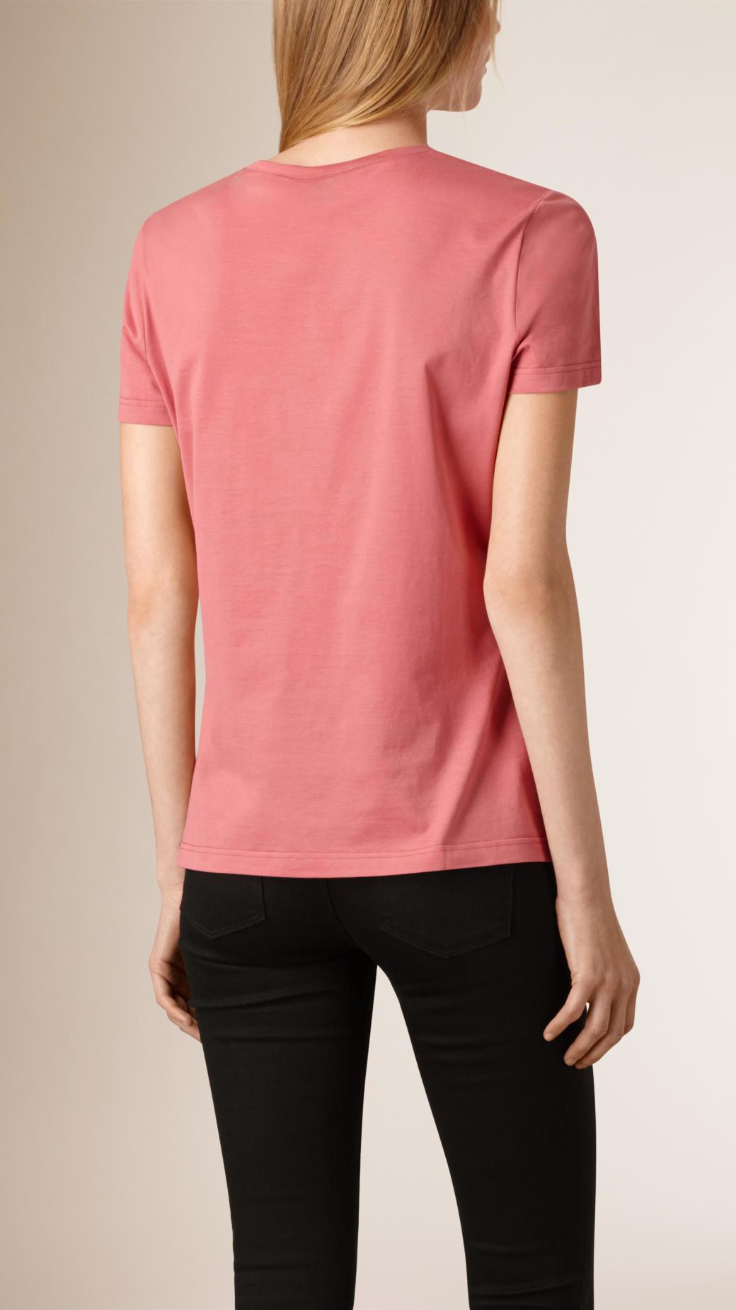 lyst burberry lace pocket cotton t shirt sugar pink in pink. Black Bedroom Furniture Sets. Home Design Ideas