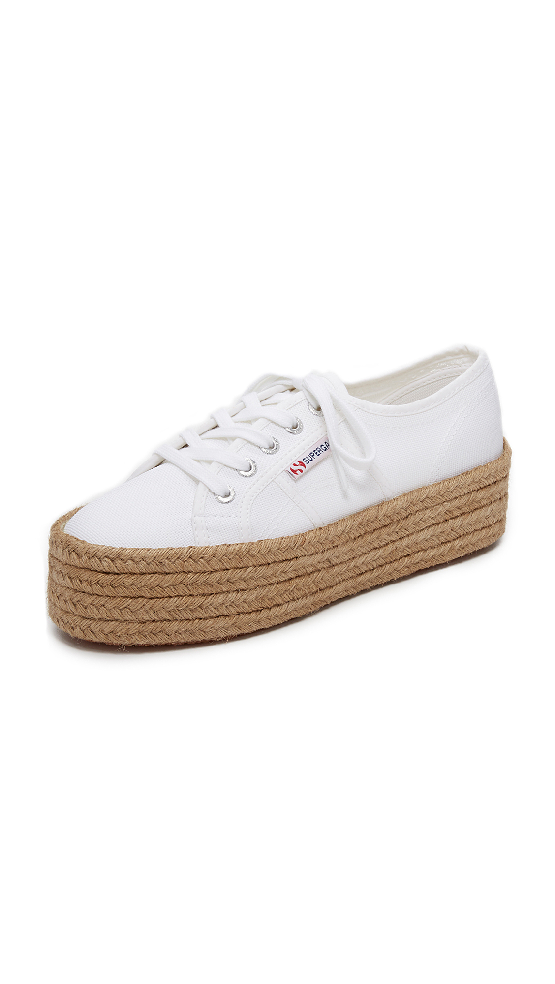 Superga: Superga 2790 Platform Espadrille Sneakers In White