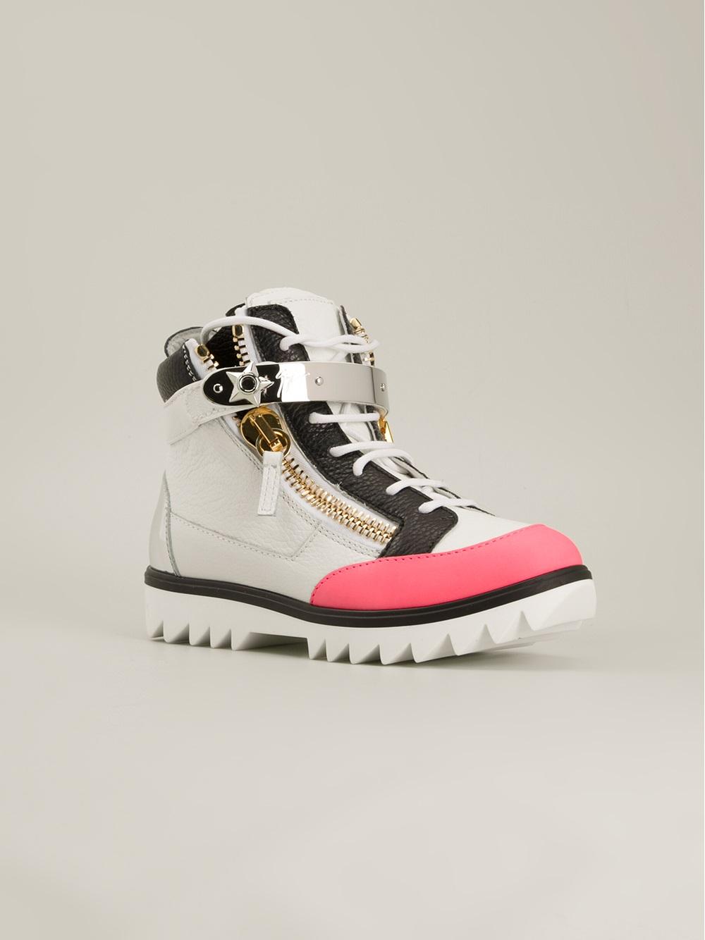 giuseppe zanotti colour block hitop sneakers in white lyst