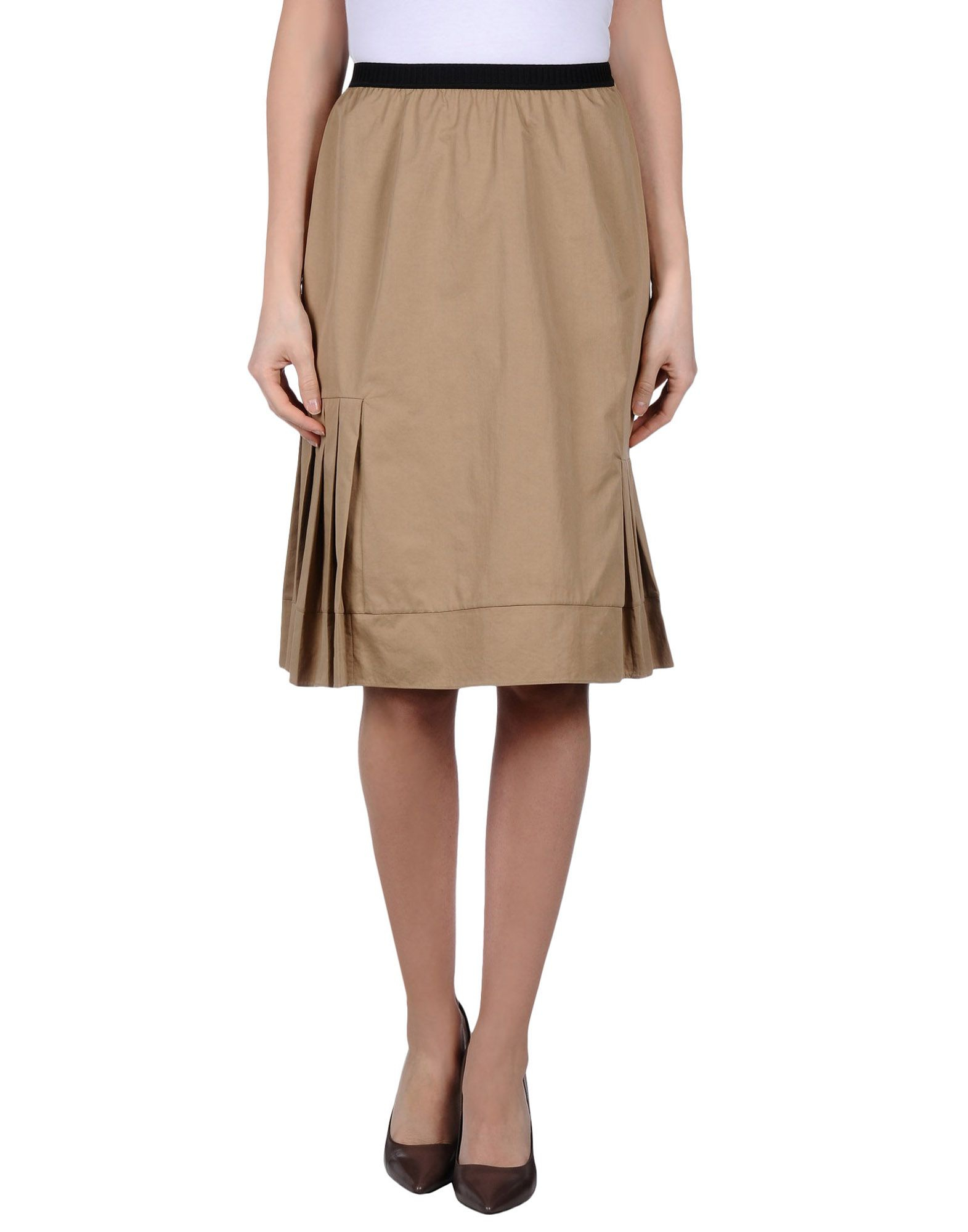 marni knee length skirt in khaki lyst