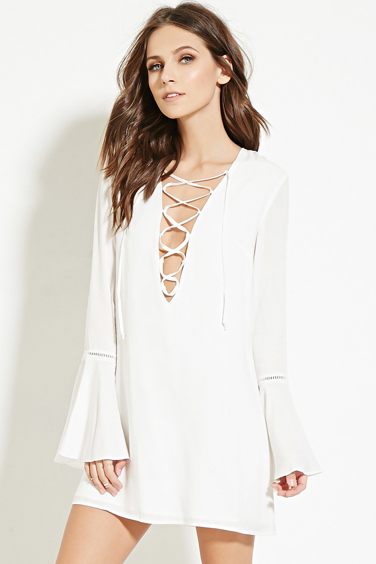 614955ed208 White Lace Dress With Sleeves Forever 21 - Data Dynamic AG