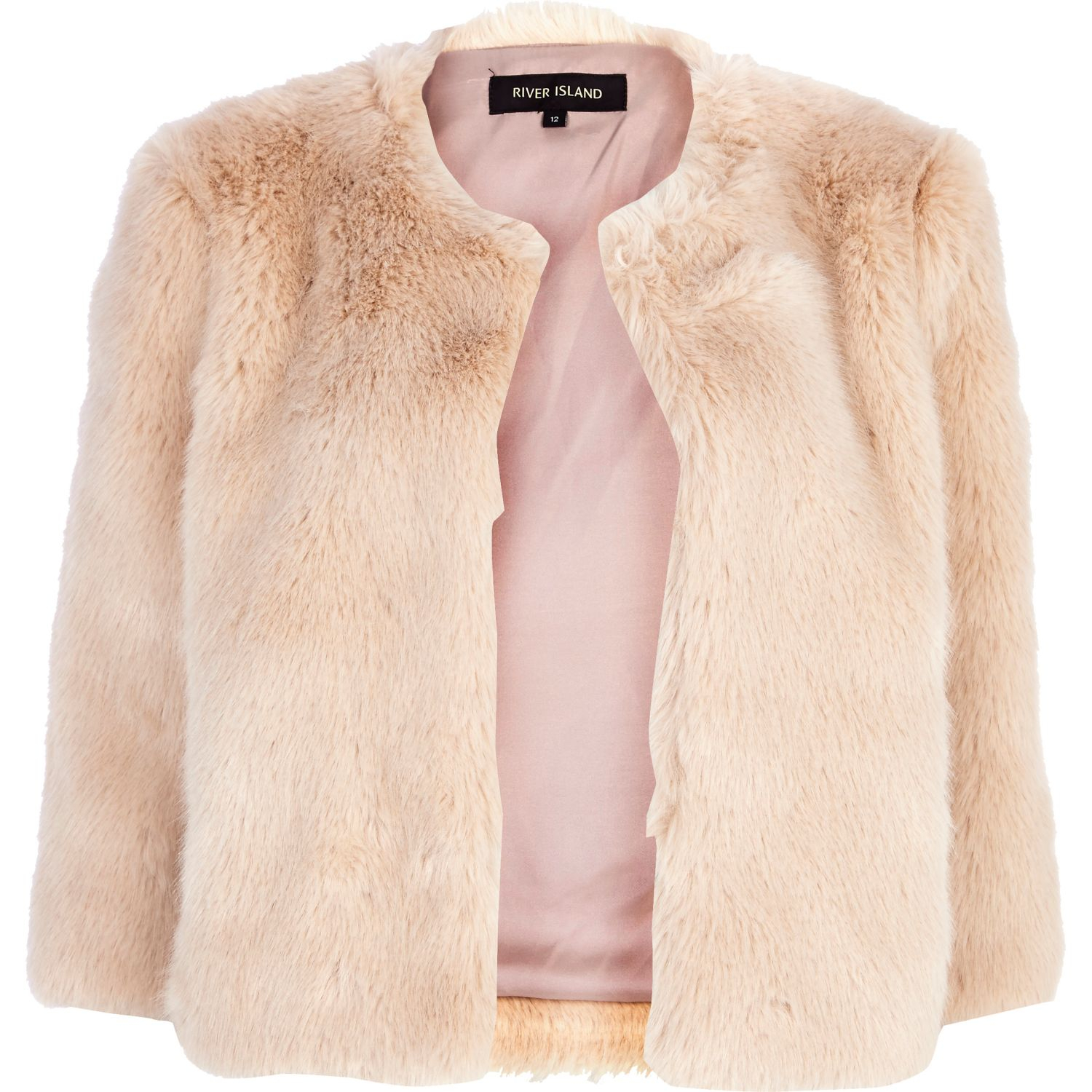 226ffc6ccad River Island Light Pink Cropped Faux Fur Coat in Pink - Lyst