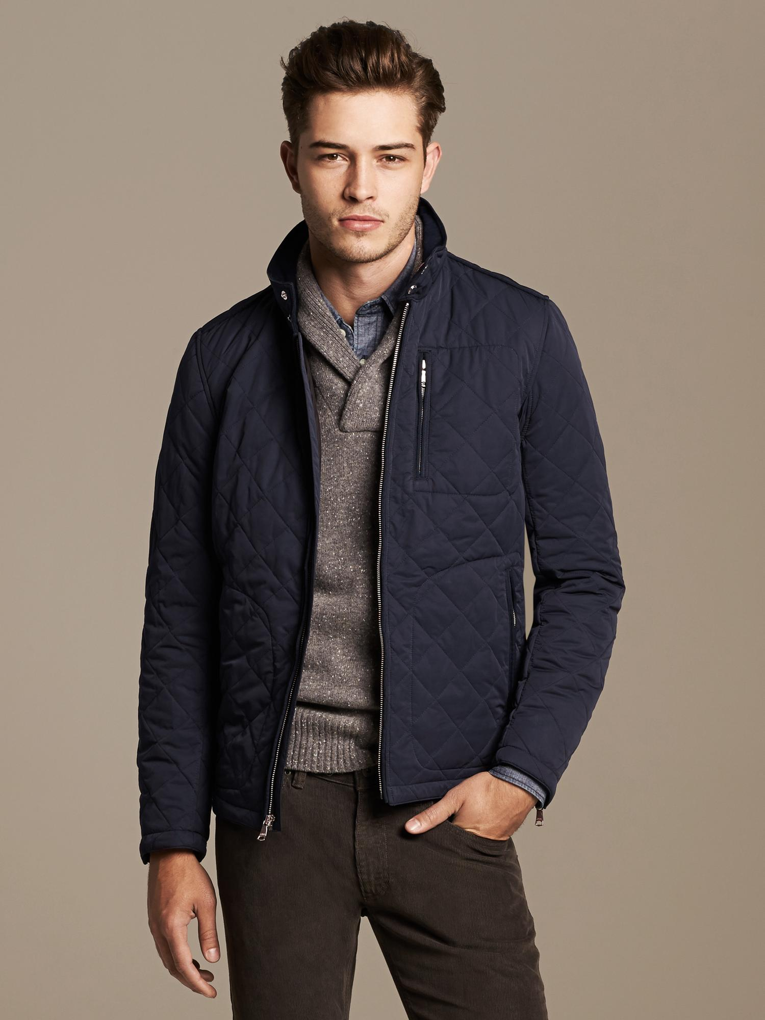Banana Republic Quilted Jacket In Blue For Men Lyst