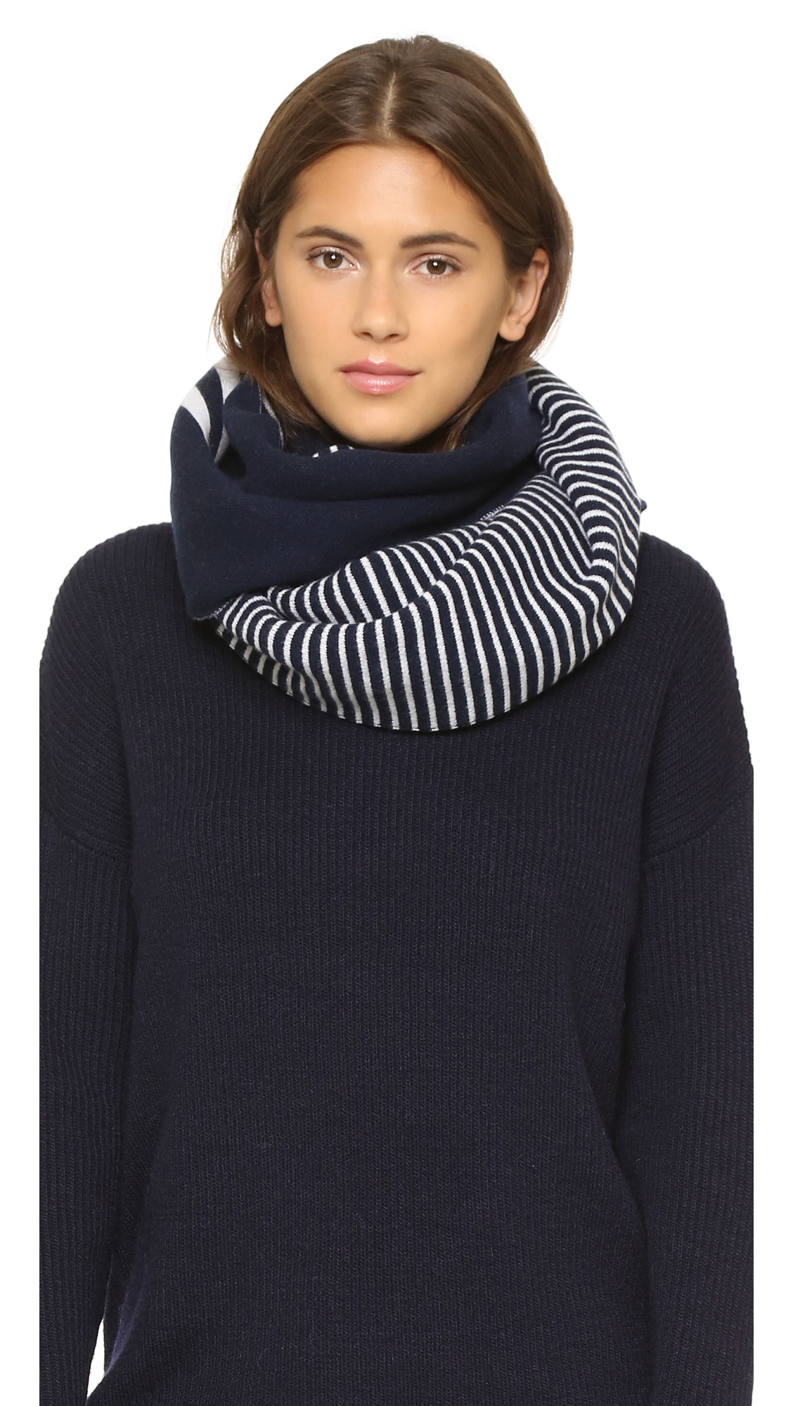 Tory Burch Wool Reversible Striped Scarf In White Lyst